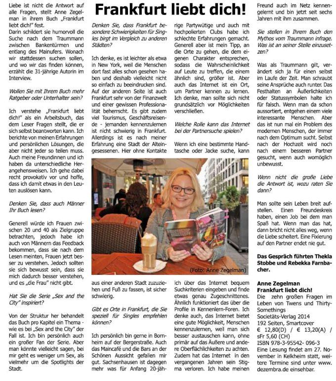 Artikel im Stadtjournal Frankfurt