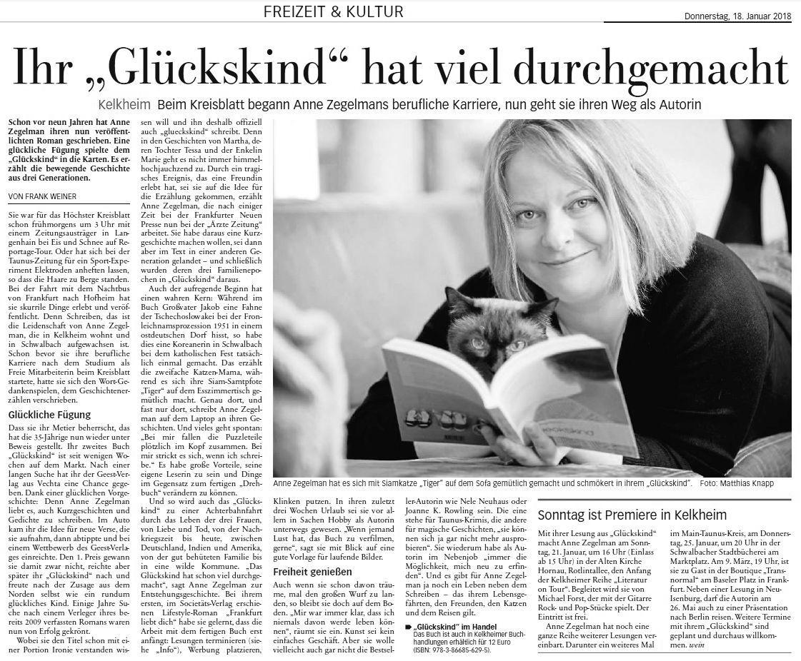 """Das Höchster Kreisblatt über glueckskind: """"Achterbahnfahrt durchs Leben"""""""