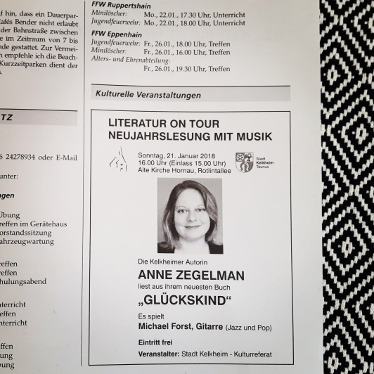 Unsere erste Lesung in Kelkheim steht bevor - Werbung im Amtsblatt.