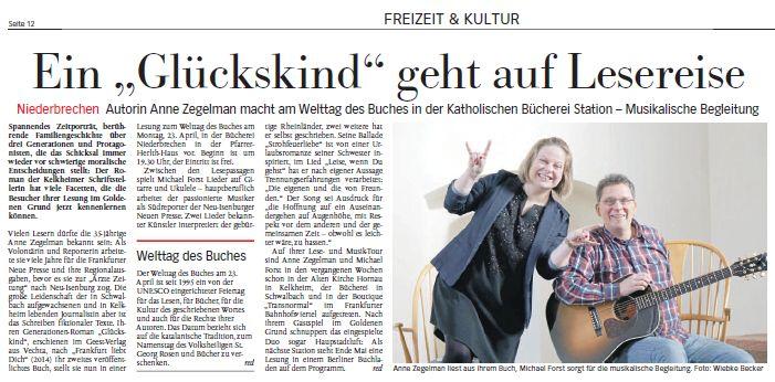 April 2018: Ankündigung unserer Lesung in Niederbrechen in der Nassauischen Neuen Presse.