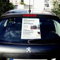 Werbung an Annes Auto.