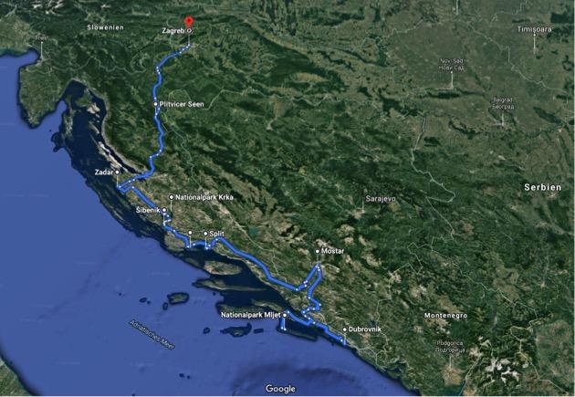 Kroatien-Route